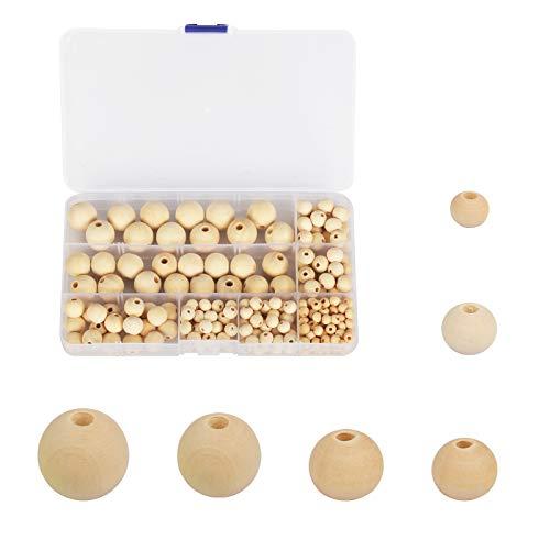 PATAZOK 254 Pezzi Perle Rotonde in Legno,Perline Legno Naturale Protezione Ambientale Fatto a Mano Gioielli Ornamento 6 Diverse Dimensioni(6mm/8mm/10mm/12mm/16mm/18mm)