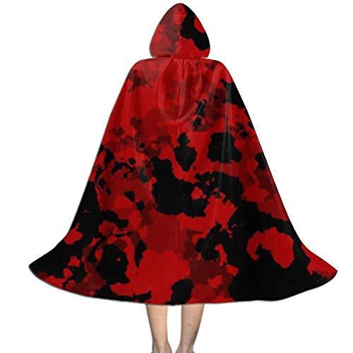 Amanda Walter Capa con Capucha de Camuflaje Militar Rojo para nios para la Fiesta de Navidad de Halloween, Disfraz de Vampiro Brujo Mago de Cosplay para nios con Sombrero CLK-143