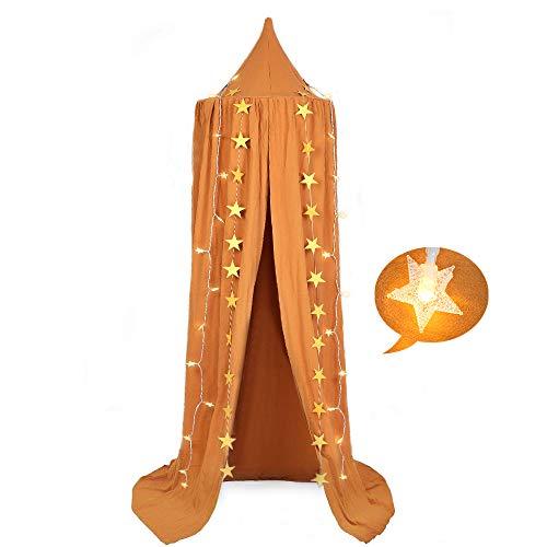 Prinzessin Baldachin Moskitonetz - Betthimmel Baumwolle Spiel Zelt mit 40 LEDs Warme Lichterketten Sternen Dekoration Hängende Mückennetz für Schlafzimmer Kinderzimmer Höhe 240cm - Ingwer gelb