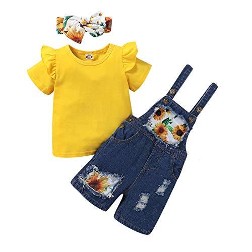 T TALENTBABY Conjunto de ropa de verano para niños pequeños, con diseño de flores, camiseta + pantalones cortos de girasoles + cinta para la cabeza, 3 unidades Amarillo corto. 3-4 Años
