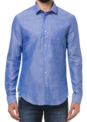 Camisa slim simples, Calvin Klein, Masculino, Azul, 5