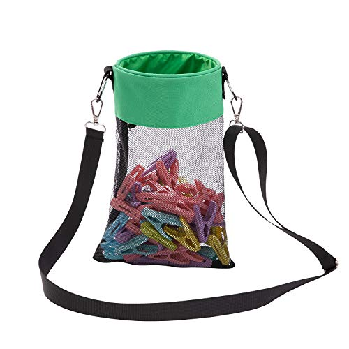 AFUOWER Mesh Clothespin Bag with Hooks Hanging Clothes Pin Bag with Drawstring (Green)
