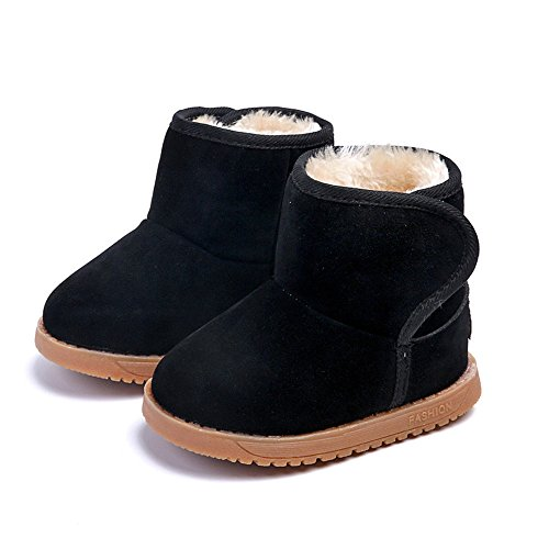Winter Boots for Toddler Boots for Boys Soft Warm Fur Snow Boots for Girl Plush Black Snow Boots 4 Toddler