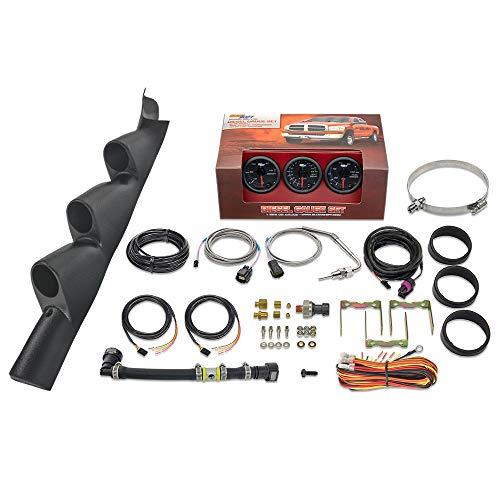 GlowShift Diesel Gauge Package for 2011-2016 Ford Super Duty F-250 F-350 6.7L Power Stroke - Black 7 Color 60 PSI Boost, 1500 F Pyrometer EGT & 100 PSI Fuel Pressure Gauges - Black Triple Pillar Pod