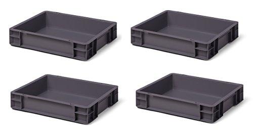 4 St. Euroformat-Stapelbehälter, grau, 400 x 300 x 75 mm (LxBxH), Wände u. Boden geschlossen, 9 Liter, aus PPN