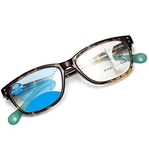 LianSan老眼鏡 ブルーライトカットメガネ 累進遠近両用 コンパクト 携帯用 おしゃれ メンズ レディース ケース付き(ベッコウ,+1.00)