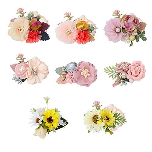 DOUHEN - Set di 4 fermagli per capelli per ragazze, accessori per capelli con fiore, Plastica,