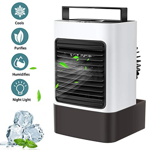 OVPPH Portable Air Conditioner Fan, Personal Air Cooler Fan Mini Evaporative Cooler Desk Table Fan, Quiet Air Circulator Humidifier Misting Fan with 3 Speeds for Home Bedroom Office (White)