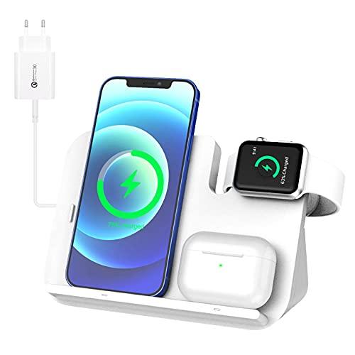 WIFORT Chargeur sans Fil 3 en 1, Chargeur Induction 15W Station de Charge Rapide pour iPhone 12/11 Pro Max/XR/X/8, Apple Watch, AirPods Pro/2, Samsung Huawei, Blanc (Câble de iWatch Non Inclus)