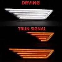 AL 2ピース アンバー ダイナミック フロー LED サイド マーカー ライト 対応車種: ホンダ用 シビック 2016 2017 デュアル フロー AL-MM-2332-T003