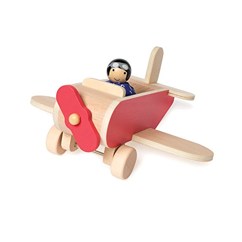 Manhattan Toy MiO Wooden Toy Airplane + 1 Bean Bag Person Peg Pilot Doll - 2 Piece Imaginative Play Kit