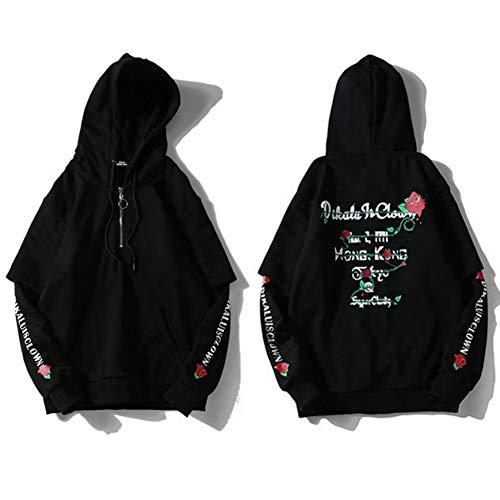 CLGXXH Kapuzenpullover Sweatshirt Harajuku Japanese Hoodie für Männer mit Reißverschluss Floral Sweatshirt Pink Damen Schwarzer Pullover...