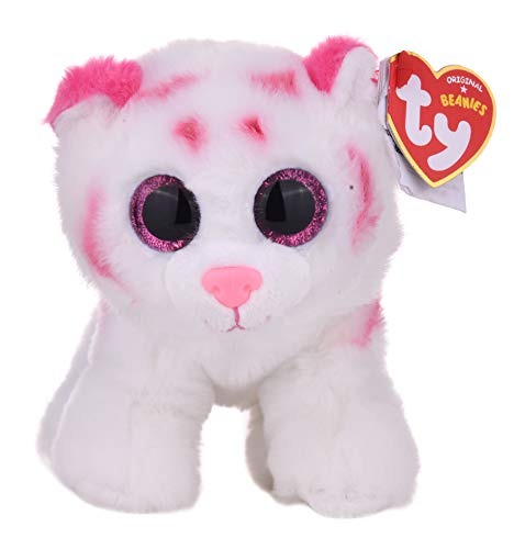Tabor 42186 - Tabor - Tiger mit Glitzeraugen, Beanie Classic, 15 cm, rosa/weiß