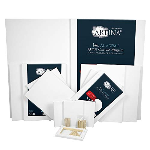 Artina Akademie Leinwand 14er 50x70, 30x40cm,24x30c, 13x18cm Set Leinwand auf FSC® Keilrahmen aus 100% Baumwolle - Keilrahmen in Akademie Qualität - 280 g/m² zum Bemalen