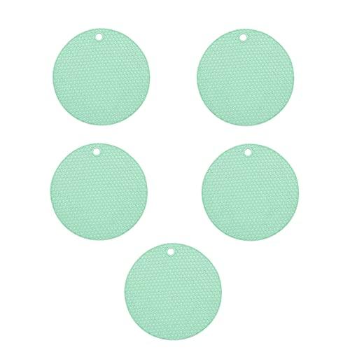 BESEN Esterillas de silicona de aislamiento térmico para ollas, posavasos, manteles de mesa, juego de 5 piezas, antideslizante, antiquemaduras, reducción de ruido, adecuado para cocina, vajilla y macetas (verde nórdico, 17,5 x 0,7 cm)