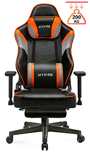 SITMOD Chaise Gaming Fauteuil Gamer Ergonomique 200kg Cuir PU Chaise Racing Pro Massage, Inclinable...
