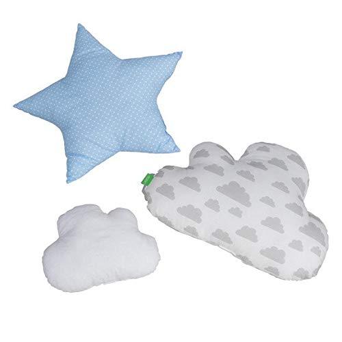 Lulando Juego de 3 Cojines Decorativos con diseño de Nubes y Estrellas, para habitación de los niños, con Relleno, Color Azul