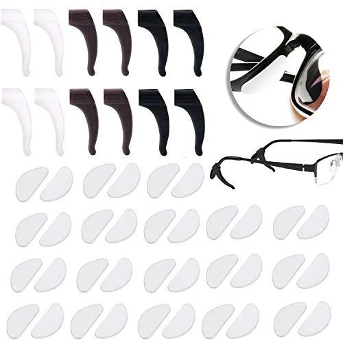 18 Paaren Silikon Brillen Nasenpads Rutschfeste Selbstklebende Weiche Brillenpads Nasenpolster Klicksystem mit 6 Brillen Ohr-bügel-haken Grip Brillenbügel Spitze für Gläser Sonnenbrillen (Klar,1mm)