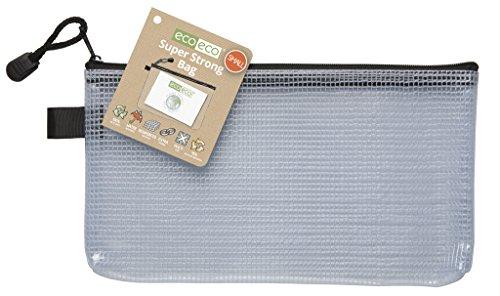 eco-eco eco037 - Small 95% Reciclada Super Claro Transparente Bolsa Fuerte con Cierre de Cremallera Negro, DL