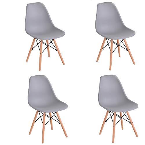 Juego de 4 sillas de comedor con patas de madera de haya, sillas para restaurante o oficina, color gris