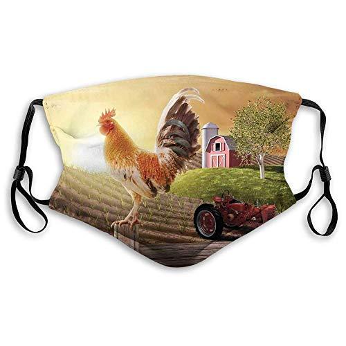 Cómoda máscara impresa, país, granja granero imagen con gallo animal temprano pájaro naturaleza y sol creciente, marrón pálido, decoración facial resistente al viento para adultos Tamaño: M