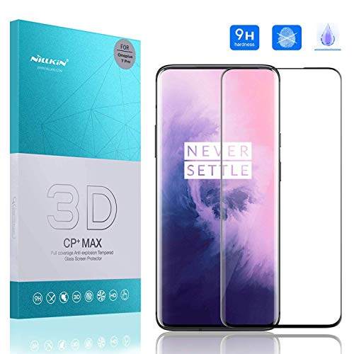 Nillkin OnePlus 7 Pro Screen Protector, CP+MAX Series Tempered Glass Full Coverage Ultra-Clear 9H Hardness Anti-Scratch Anti-Oil Bubble Free Bulletproof Screen Protector Compatible for OnePlus 7 Pro