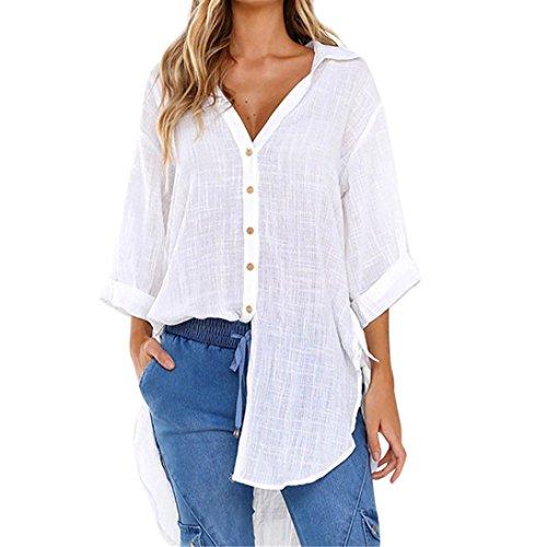 ESAILQ Damen T-Shirt Ladies Extended Shoulder Tee, Baumwollshirt mit Turn-up Ärmeln(L,Weiß)