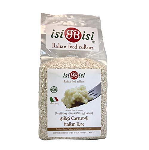 isiBisi Carnaroli Gluten Free White Rice - All Natural Authentic Italian Rice for Risotto - Non GMO Short Grain Rice Bag - Product of Italy - 1 Pack - 2.2 LB