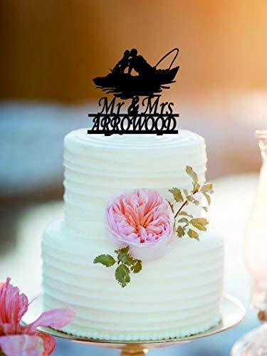 Paar op Boot Bruiloft Cake Topper Gepersonaliseerde Mr en Mrs Cake Topper Bruid en Groom Cake Topper Elegante en Romantische Aangepaste Grappige Bruid en Groom Cake Topper voor Bruiloft Gift.