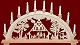 yanka-style XL Schwibbogen Lichterbogen Leuchter Waldhaus ca. 72 cm breit traditionelles Motiv 10flammig Weihnachten Advent Geschenk Dekoration (83148-43)