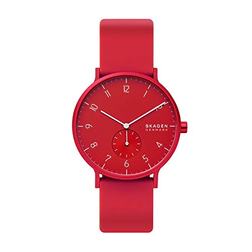 Skagen Men's Aaren Kul¿r Silicone Watch, Color: Red, 20 (Model: SKW6512)