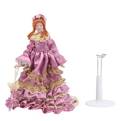 Qingsi 1 casa de muñecas miniatura Mini Victorian Lady Modelo Mini Muñeca Princesa Cerámica Modelo para Decoración del Hogar Jardín