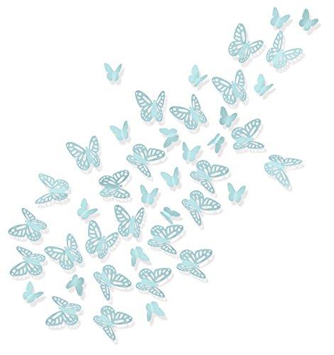Luxbon 100 Stück 3D Schmetterling Wandtattoo Abziehbilder mit Klebepunkten Kinder Baby Schlafzimmer Deko Hellgrün