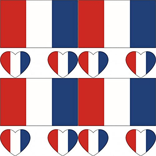 GUGUBU Pack of 4 France Sticker Temporary Body Tattoo Flag French National Flags Euros World Cup Football Fans Music Festival Heart