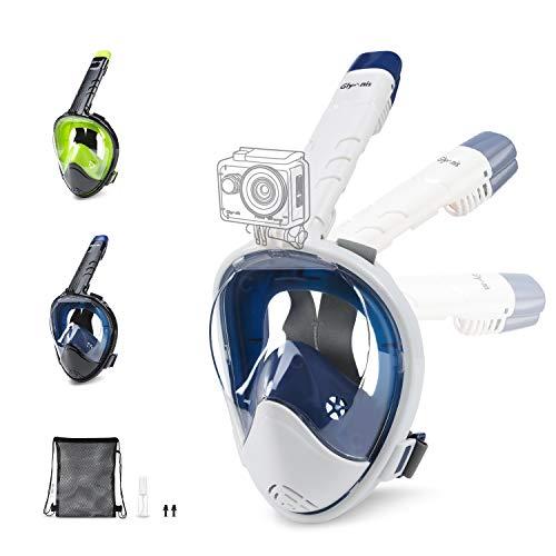 Glymnis Maschera Snorkeling Maschera Subacquea Immersione Panoramica Integrale a 180°, Anti-Appannamento, Anti-Infiltrazioni con Tubo Respiratorio Pieghevole per Uomo e Donna, Bianco-Blu S/M