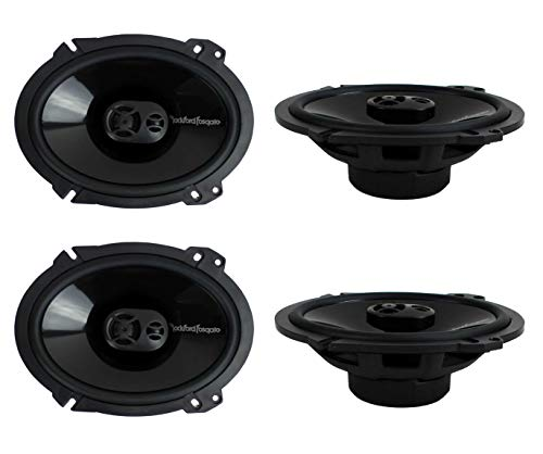 "2 Pairs of Rockford Fosgate Punch P1683 260W Peak (130W RMS) 6"" x 8"" Punch Series 3-Way Full Range Coaxial Speakers"