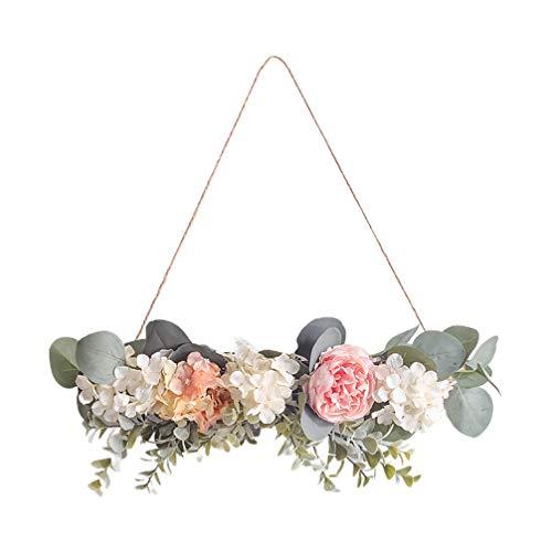 PRETYZOOM Künstliche Blume Deko Nordischer Stil Deko Blumenkranz Wand Anhänger Pfingstrose Deko zum Aufhängen Wanddekoration für Frühling Ostern Hochzeit Zuhause Dekoration