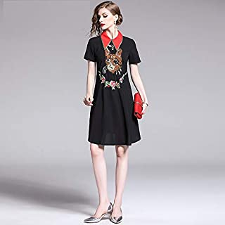 Vestidos Maxi Largos Verano Mujer Falda Dibujos Animados Flor Bordado Vestido Mujeres Contraste Color Gire Abajo Collar Negro Vintage Vestido De La Pasarela