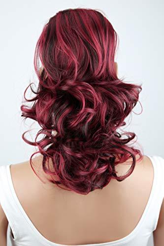PRETTYSHOP 30cm Haarteil Zopf Pferdeschwanz Haarverlängerung Voluminös Gewellt Schwarz Rot Mix PH223