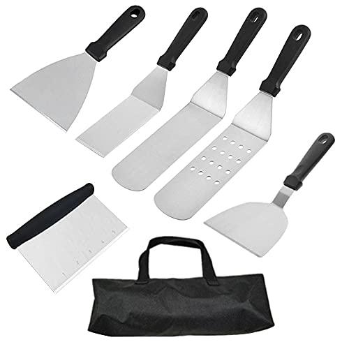 6-teiliges Grill-Spachtel-Werkzeug-Set, Grill, Pfannkuchen, Hamburger, Pfannenwender, Edelstahl-Set mit Tragetasche für Grill, BBQ, Camping, Kochzubehör