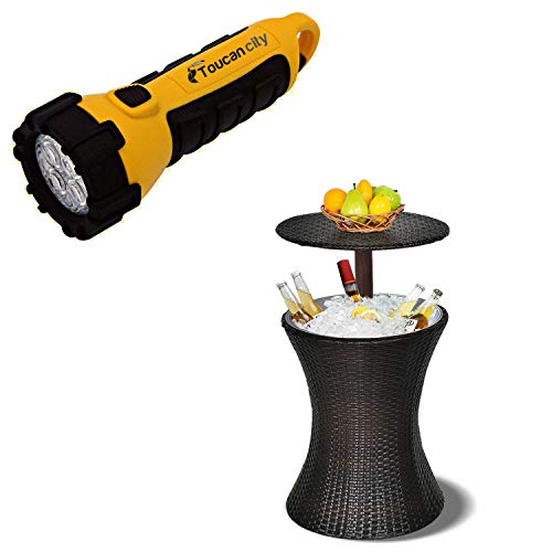 Toucan City LED Flashlight and Costway 30.25 Qt. Adjustable Outdoor Patio Rattan Ice Cooler Chest Cooler Cool Bar Table Party Deck Pool HW54908