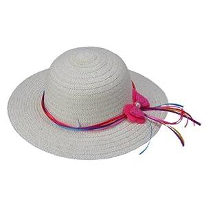 (ビグッド)Bigood 女の子つば広い帽子 子供用ストローハット 麦わら帽子 キッズハット 蝶結び飾り 日よけ帽 通学旅行に イエロー