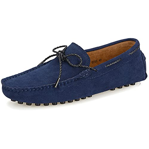 yldsgs Slip-on Loafer for Men Flats Bow-Tie Suede Leather Dress Driving Moccasins Casual Boat Shoes Blue 10.5/45
