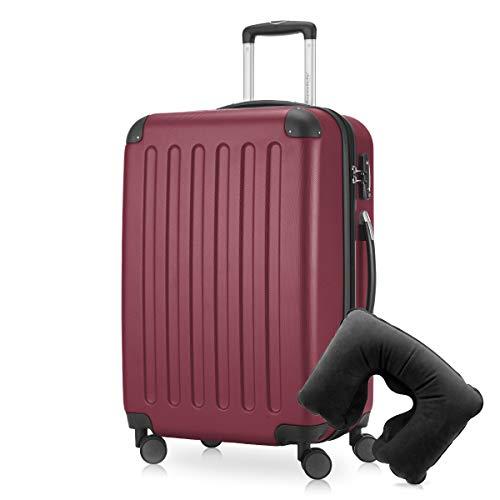 Hauptstadtkoffer - Spree Hartschalen-Koffer Koffer Trolley Rollkoffer Reisekoffer Erweiterbar, 4 Rollen, TSA, 65 cm, 74 Liter, Burgund inkl. Reise Nackenkissen