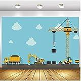 Tema de construcción para fiestas de cumpleaños, fotografía, telón de fondo, constructor, camión volquete de juguete, historia, fondo de fotos, suministros de vinilo, 1,5 x 2,1 m