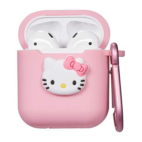 Custodia Per Airpods 1& 2,Carino Cute Personaggio Dei cartone animato 3D Divertente Case Cover Morbida in Silicone Per Airpod,Cartoon Design,Ragazze Custodie Moschettoni Air pods(Pink Kitty)