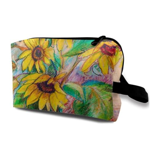 Bolsa de cosméticos grande con cremallera para maquillaje, diseño de girasoles en...