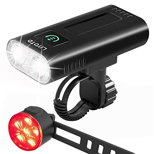 USB Rechargeable Bike Light Set Front and Back,6400 mAh Super Bright 1200 Lumen Bicycle Light,Easy to Mount Bike Headlight and Tail Light Road and MTB LED Cycling Accessories for Men and Women