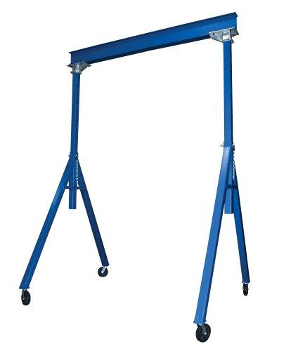 Vestil AHS-2-15-16 Steel Adjustable Height Gantry Crane, 2000 lbs Capacity, 15' Length x 6' Height Beam, 114'-192' Usable Height
