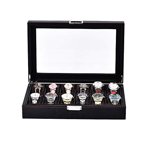 Caja de reloj Tapa de vidrio Caja de reloj for hombre del reloj de la exhibición organizador de fibra de carbono cuero de la PU 12 Maleta de almacenamiento portátil reloj reloj caja de almacen